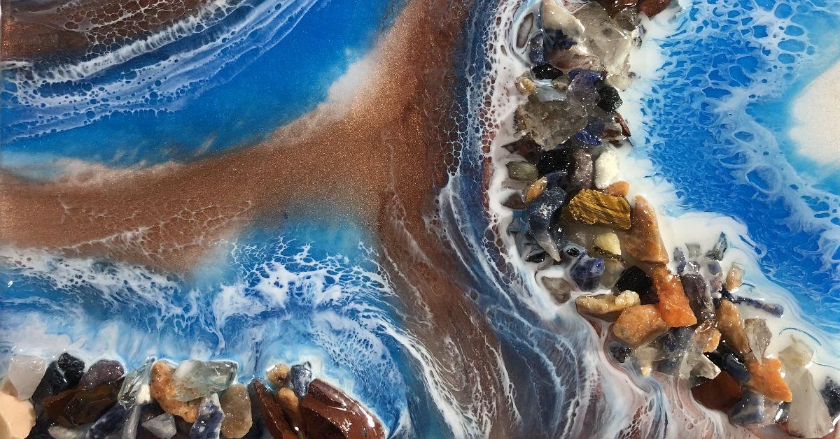 Desert Hippie Arts Rocky Waters Resin Art